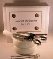 NOW IN STOCK Snail, Escargot Dining set for TWO: 2 Vitrified Ceramic 6 hole dishes, 2 snail tongs, 2 snail forks.